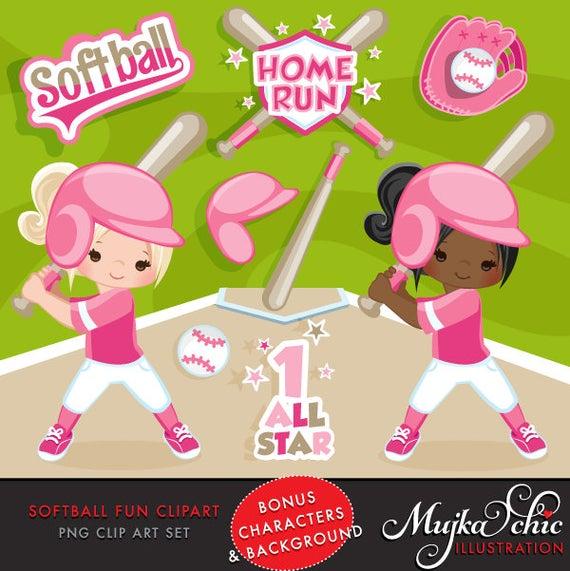 Softball clipart softball game. Pink baseball graphics players