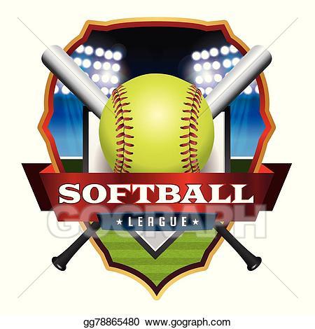 Vector stock emblem illustration. Softball clipart softball league