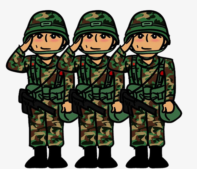 Cartoon soldier salute characters. Soldiers clipart