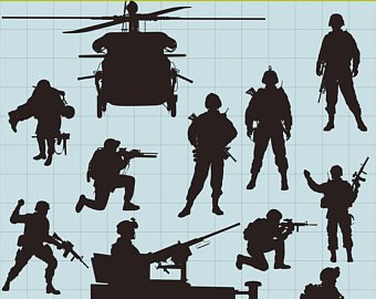 Soldiers clipart. Soldier etsy silhouettes military