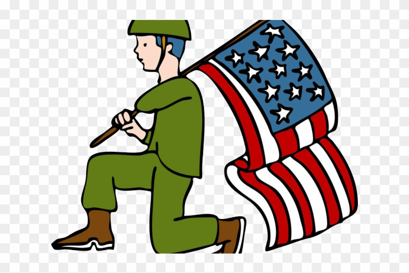 Holding flag . Soldiers clipart american soldier