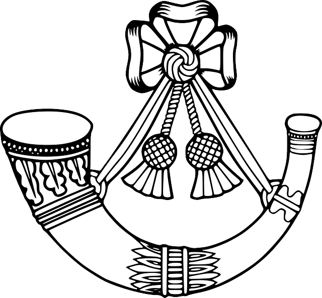 Soldiers clipart badge. Bugle horn army insignia