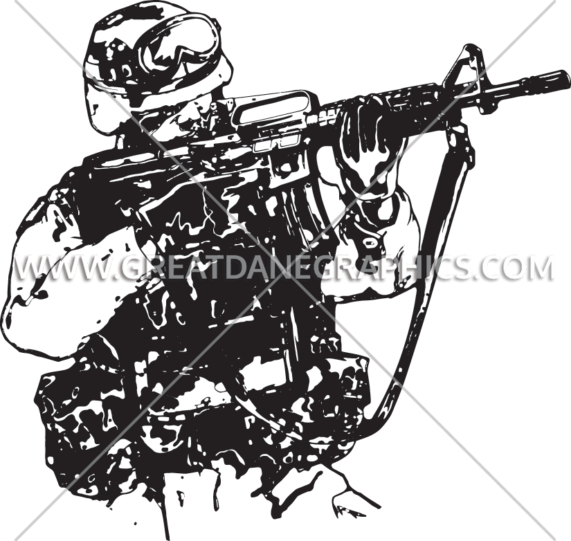 Soldiers clipart black and white. American soldier production ready