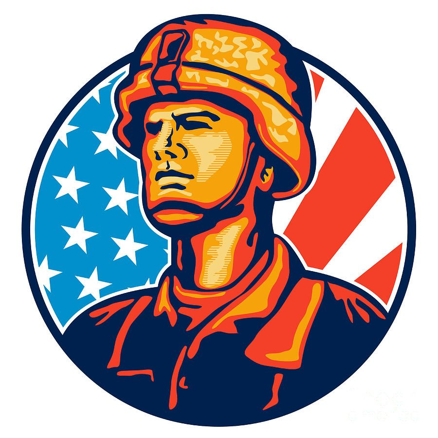 American soldier flag retro. Soldiers clipart serviceman