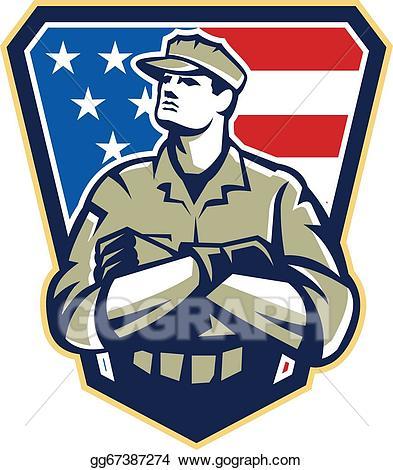 Vector art american soldier. Soldiers clipart serviceman