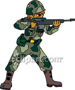 Soldier dressed in camouflage. Soldiers clipart solder