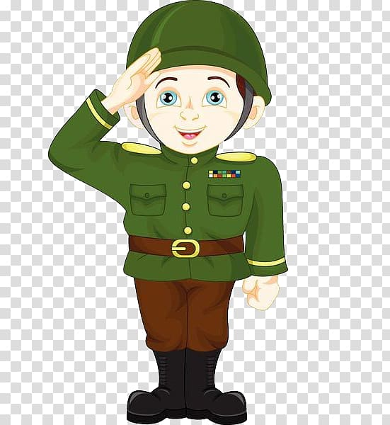 Cartoon military saluting . Soldiers clipart soldier salute