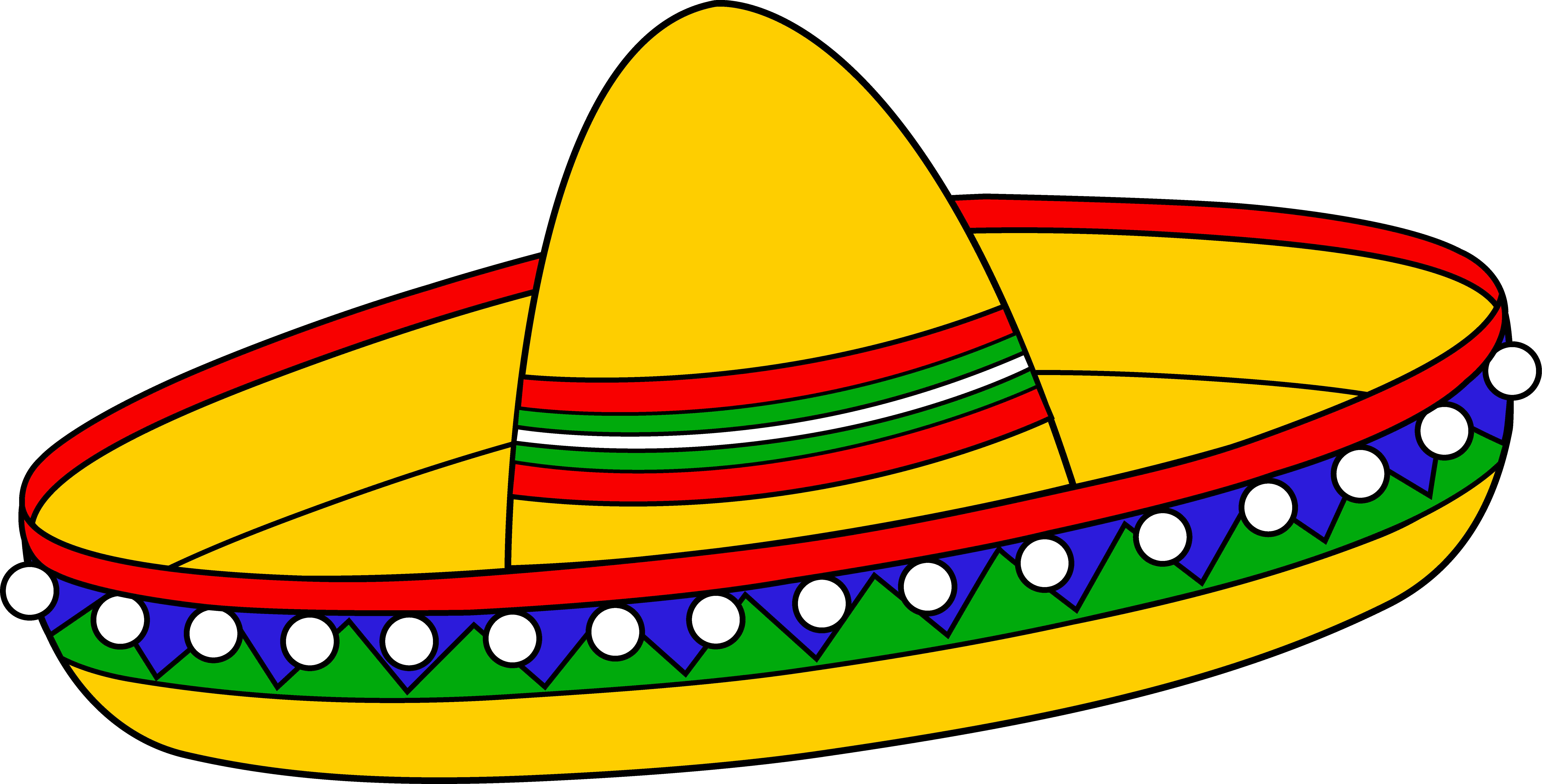 Colorful mexican sombrero hat. Colors clipart draw