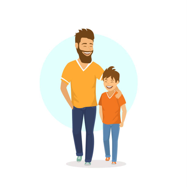 Son clipart. Dad and station