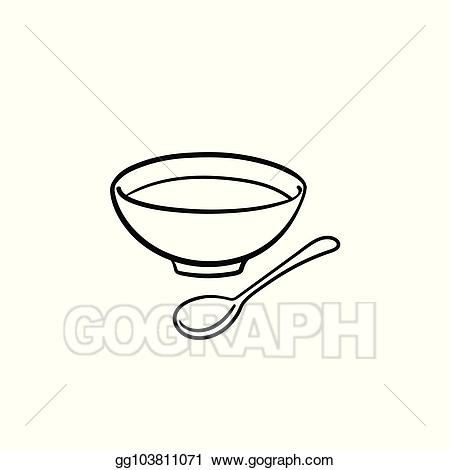 Soup clipart hand drawn. Vector illustration bowl of