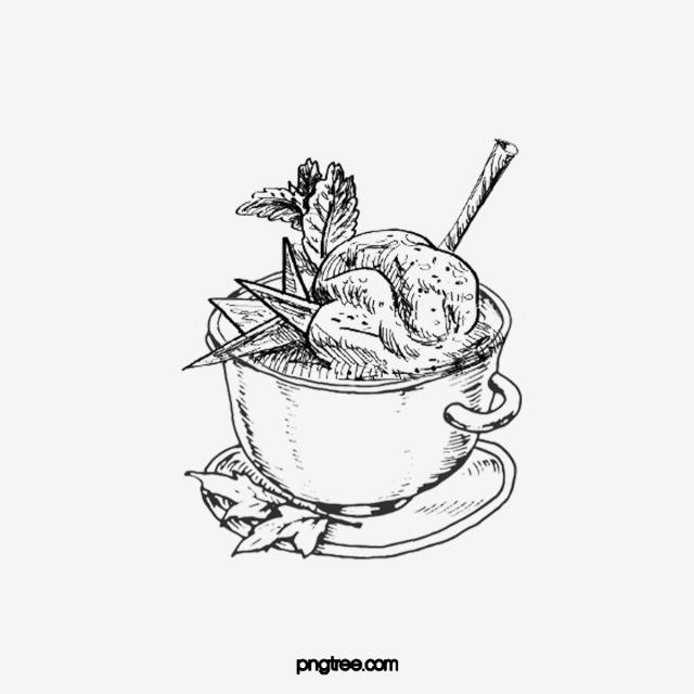 Black sketch wok chicken. Soup clipart hand drawn