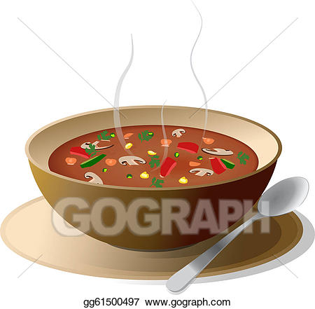 Soup clipart hot dish. Eps illustration bowl of