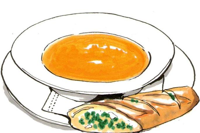 Pencil and in color. Soup clipart soup bread