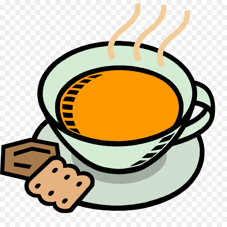 Cup of coffee yellow. Soup clipart soup bread