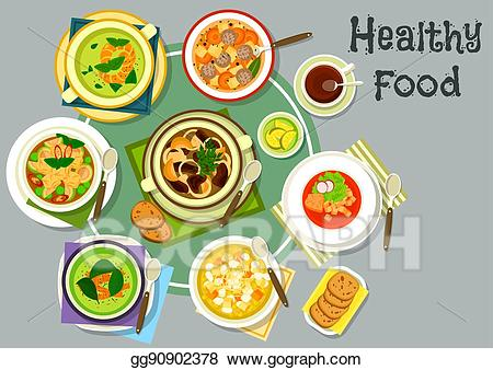 Soup clipart soup lunch. Eps illustration dishes for