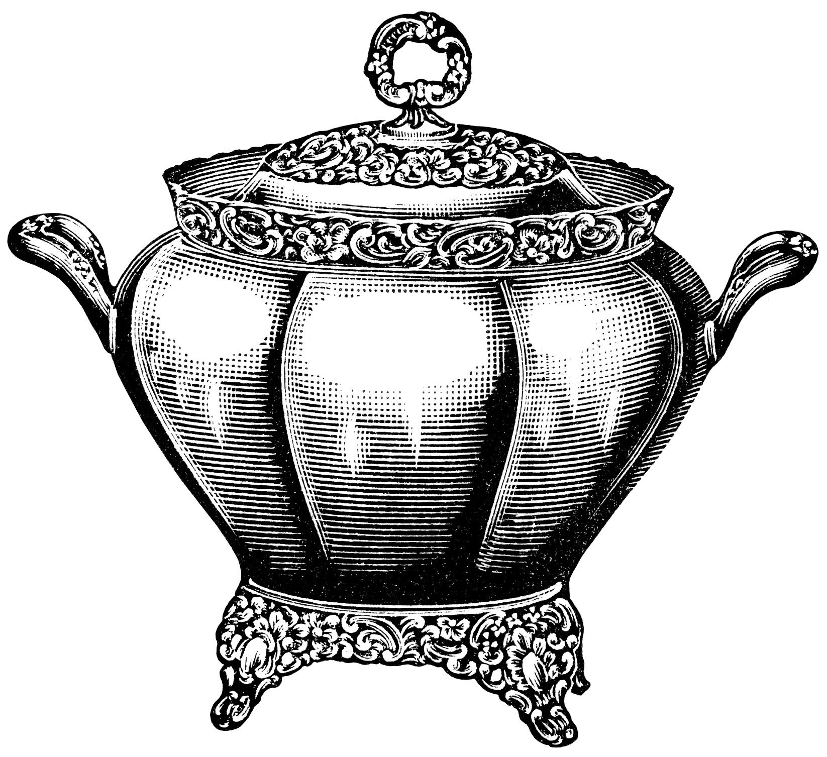 Soup clipart soup tureen. Black and white graphics