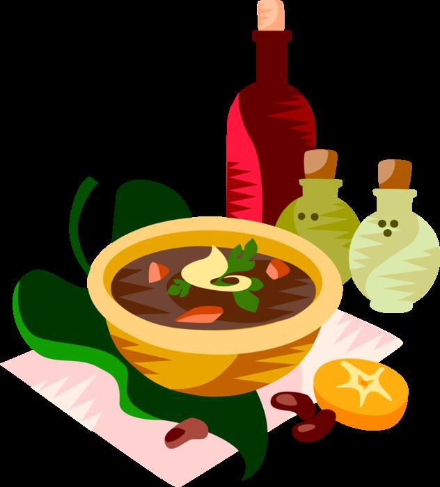 Soup clipart vector. Black bean image illustration