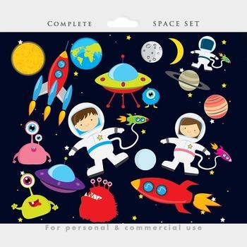 Clipart rocket astronaut. Space clip art ufos