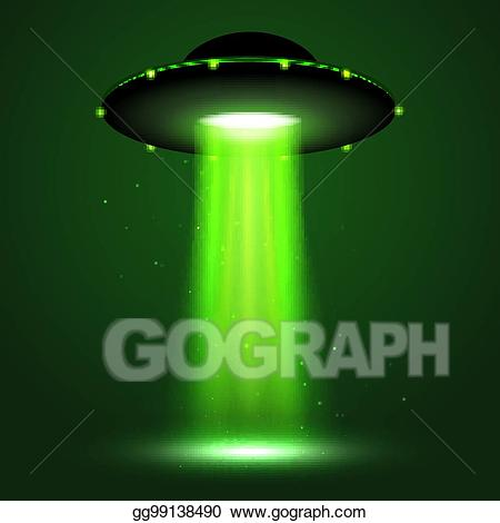 Spaceship clipart beam. Vector stock ufo light