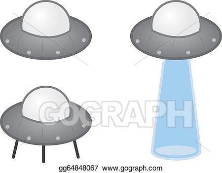 Vector alien illustration . Spaceship clipart beam