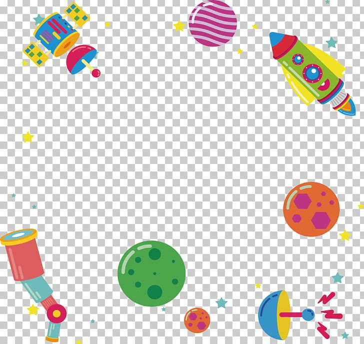 Outer space spacecraft rocket. Spaceship clipart border