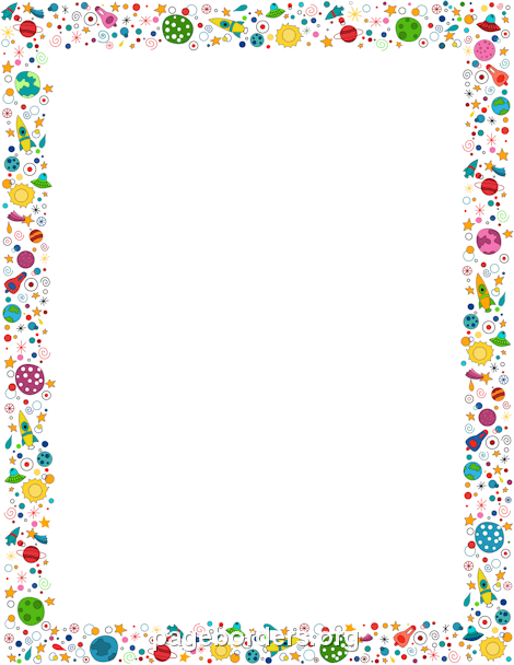 Spaceship clipart border. Space clip art page