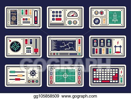 Eps illustration different panels. Spaceship clipart control panel