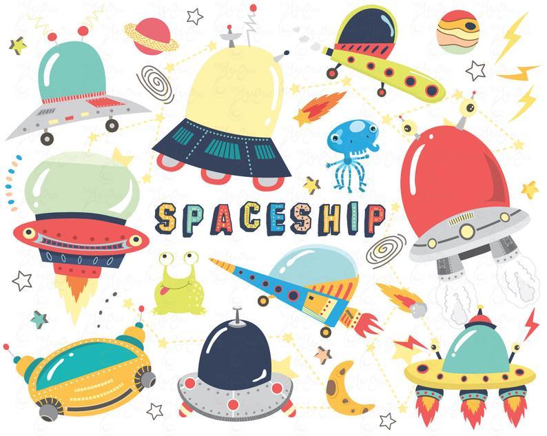 Space doodles clip art. Spaceship clipart cute