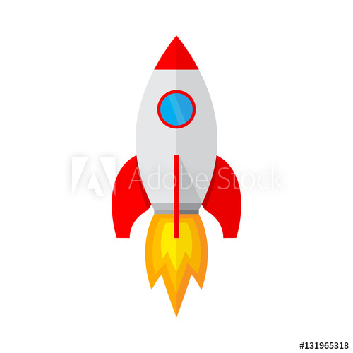 Icon in flat design. Spaceship clipart fusee