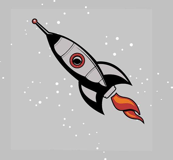 Retro rocketship wall art. Spaceship clipart giant