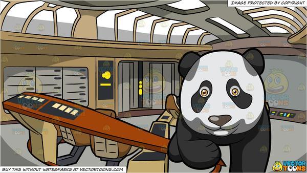 A panda takes leap. Spaceship clipart giant