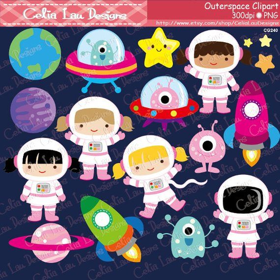Outer space girl astronauts. Spaceship clipart girly