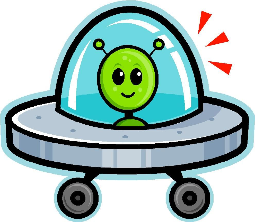 Spaceship clipart green alien. Cartoon image of a