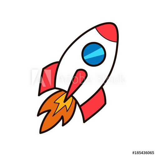Spaceship clipart missiles. Rocket launch vector cartoon