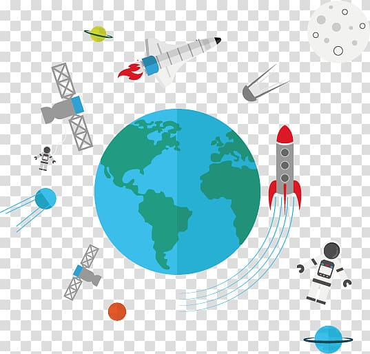 Earth outer space creative. Spaceship clipart planet