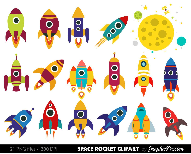 Spaceship clipart printable. Retro rockets clip art