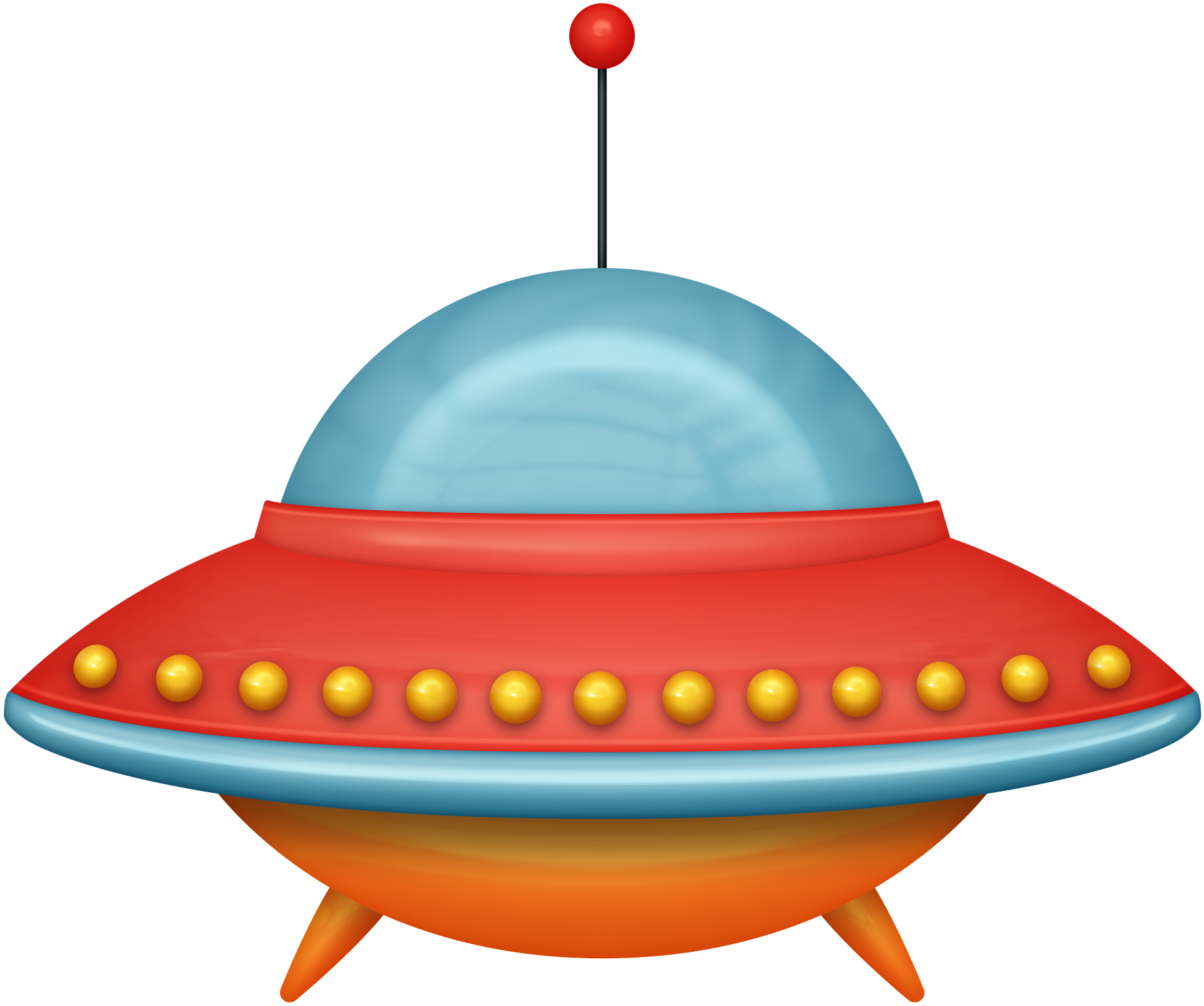 Unidentified flying object spacecraft. Spaceship clipart red