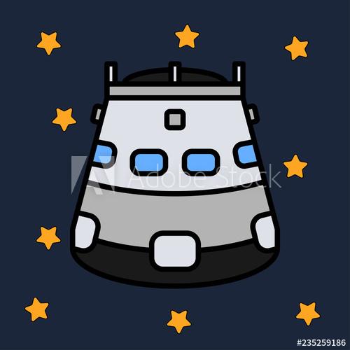 Line flat color vector. Spaceship clipart rescue