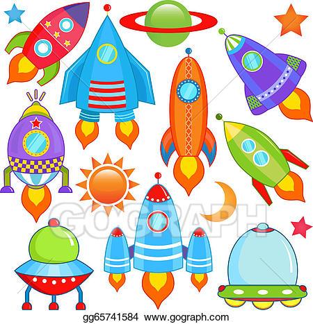 Eps vector rocket ufo. Spaceship clipart spacecraft