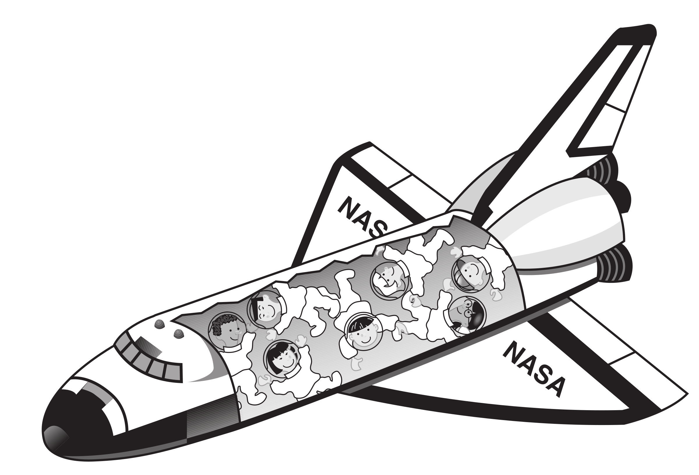 Spaceship clipart spaceship nasa. Space shuttle with astronauts