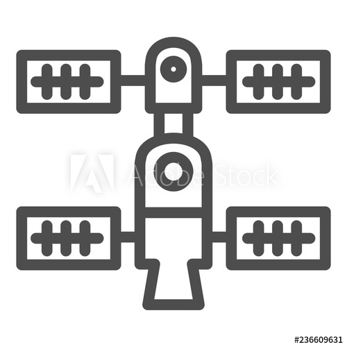 Space orbital station line. Spaceship clipart technology vector