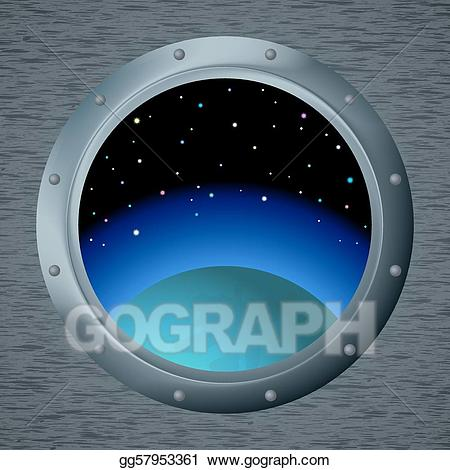 Spaceship clipart window. Vector stock with space