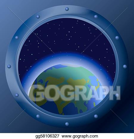 Vector with planets mother. Spaceship clipart window