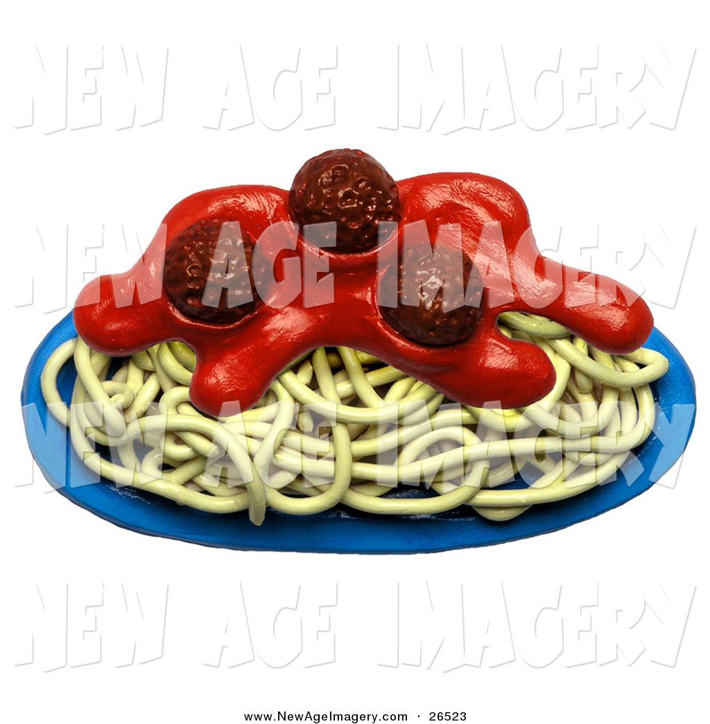 d illustration of. Spaghetti clipart full plate food