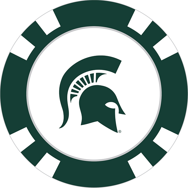 Spartans poker chip ball. Spartan clipart michigan state
