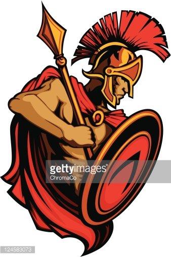 Spartan clipart person. Trojan mascot with spear