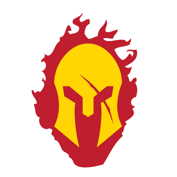 Spartan helmet png. With red flames decal