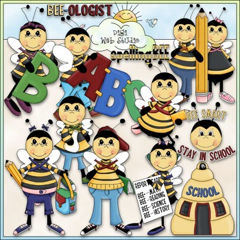 Spelling clipart back to school. Bee clip art by