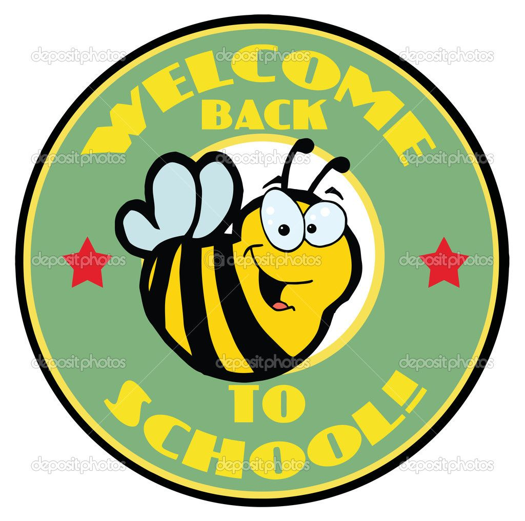 Green welcome bee circle. Spelling clipart back to school