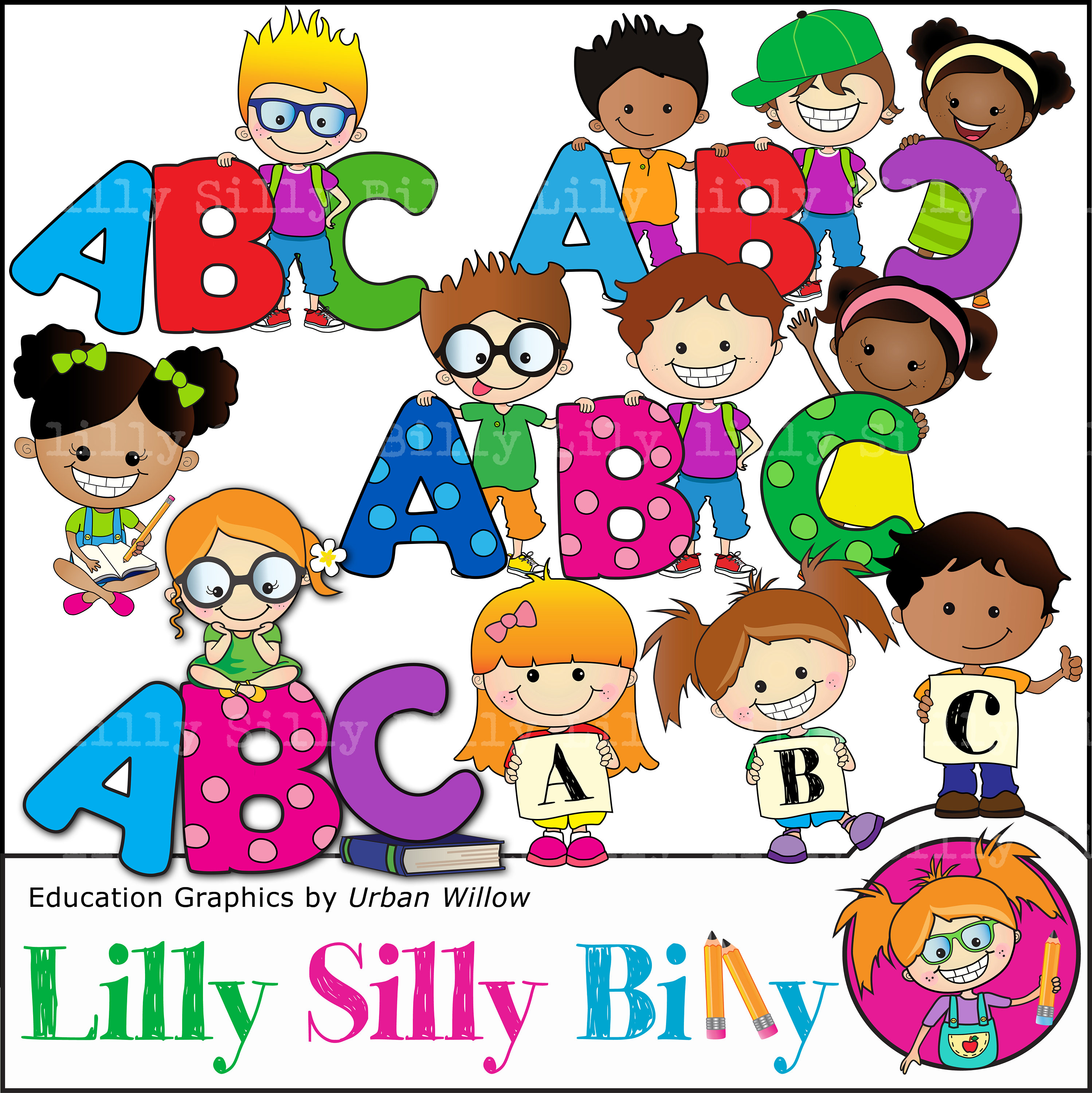 Abc education kids graphics. Spelling clipart cool